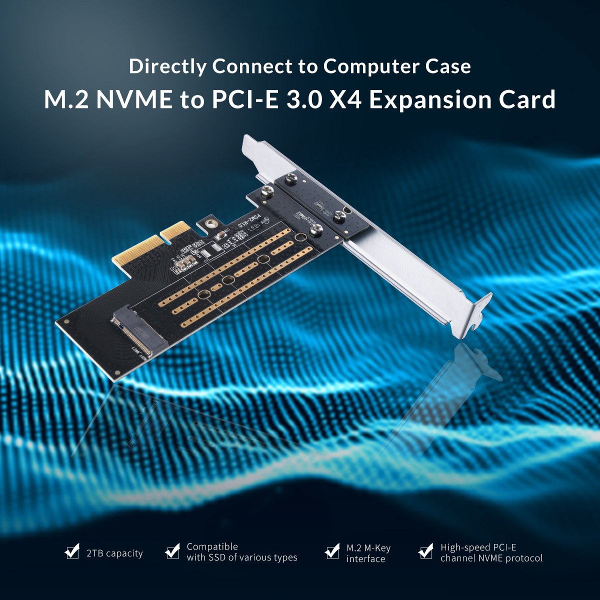 Directly connect to computer case M.2 NVME to PCI-E 3.0 X4 Expansion Card