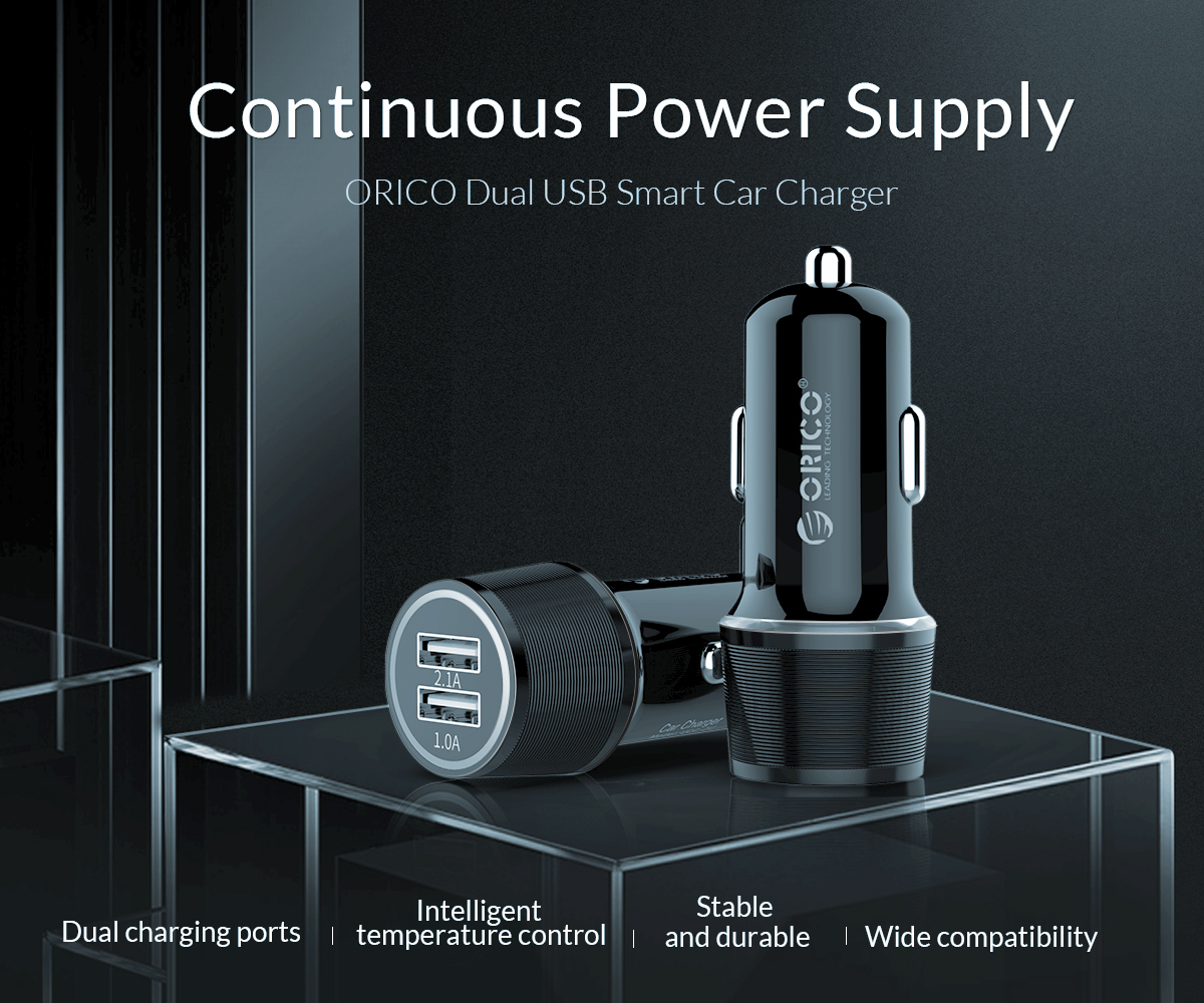 continuous power supply dual USB smart car charger