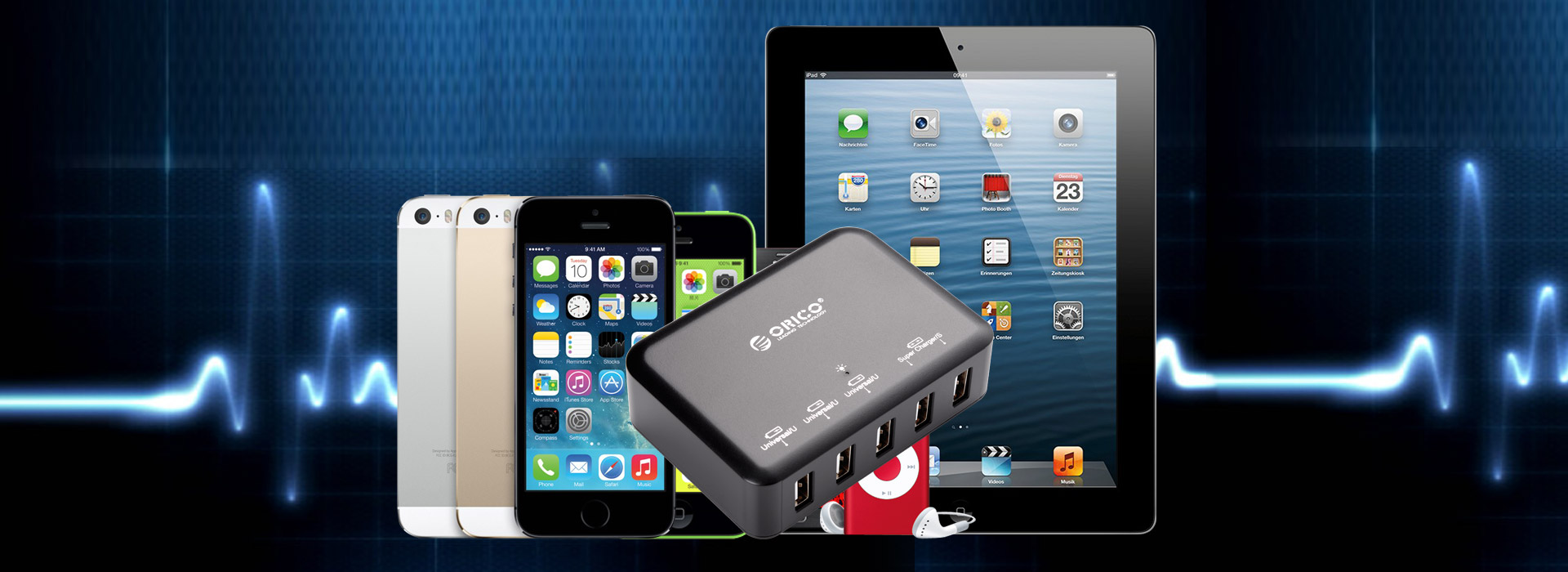 the 5-port charger can Intelligently recognizes devices
