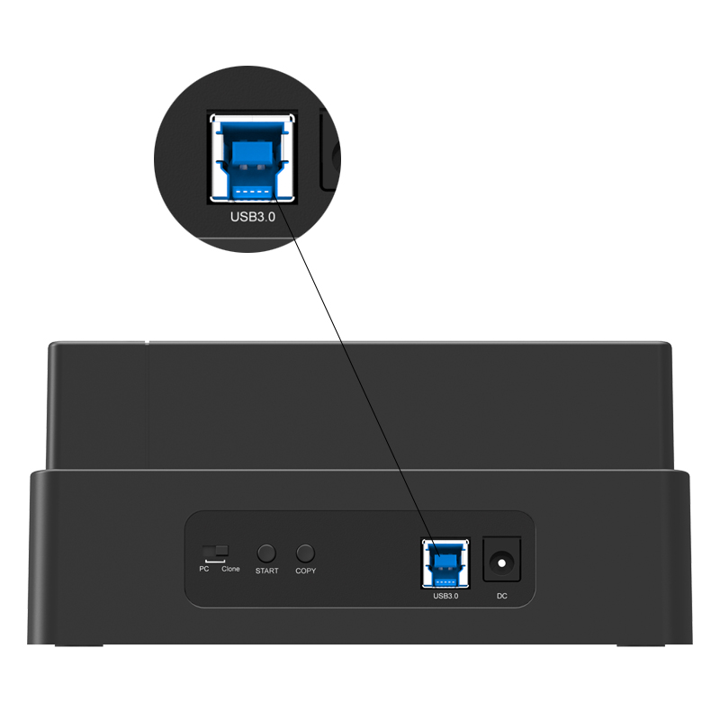 the 3 bay hard drive dock is SuperSpeed USB3.0, spending less time