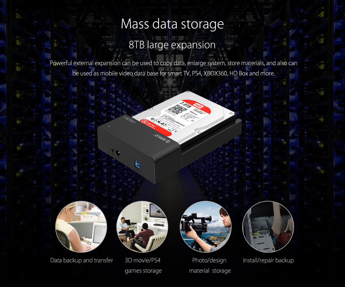 The hard drive dock is 8TB large expansion