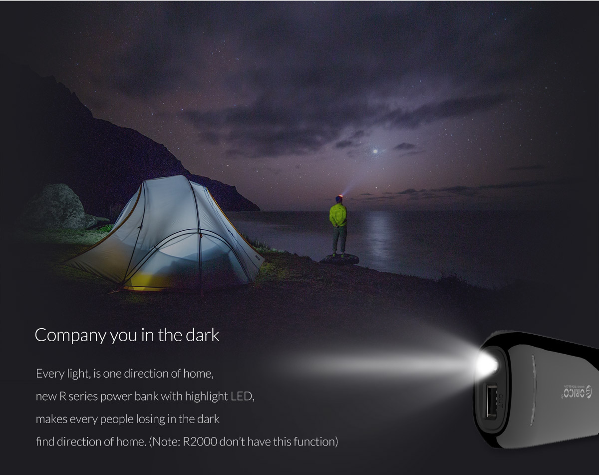 designed with flashlight, accompany you in the dark