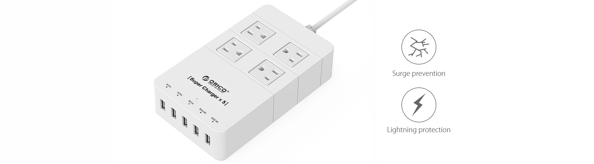 ORICO 4 AC Outlets and 5 USB Charger Surge Protector