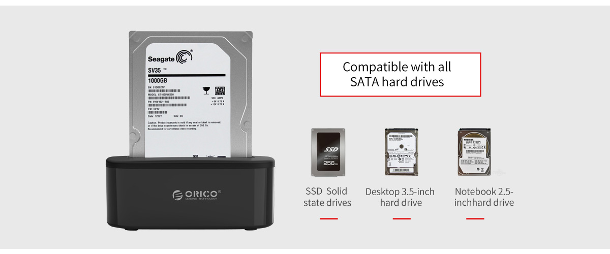 Compatible with 2.5/3.5 inch HHD and SSD