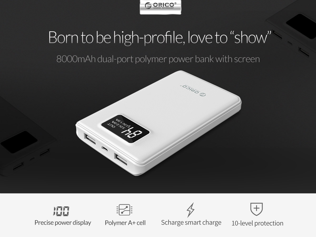 8000mAh polymer power bank with screen