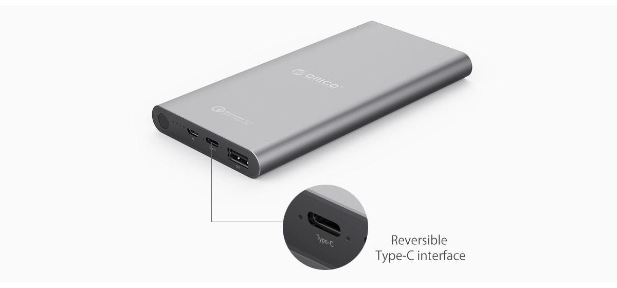 Type-C power bank support 5V2.4A input, 5V3A output