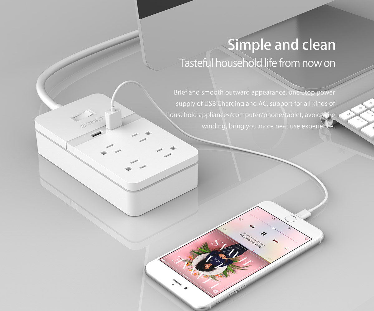 ORICO 4 AC Outlets 2 USB Charging Ports Surge Protector