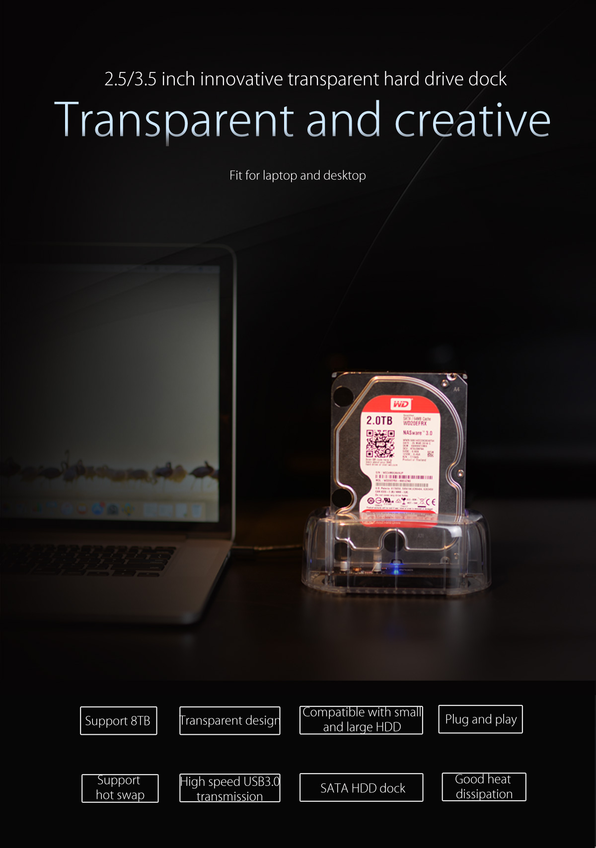 2.5/3.5 inch innovative transparent hard drive dock