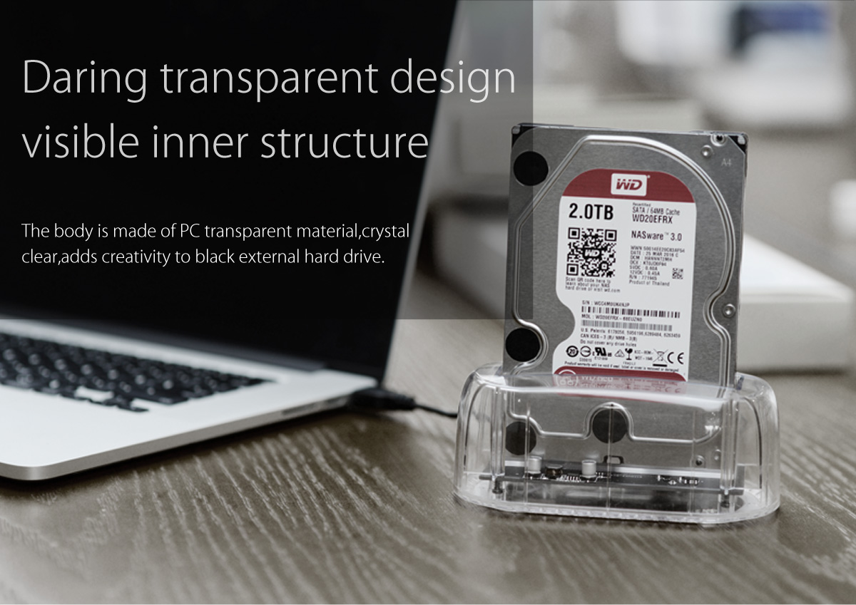 the hard drive dock is made of transparent PC material, visible inner structure