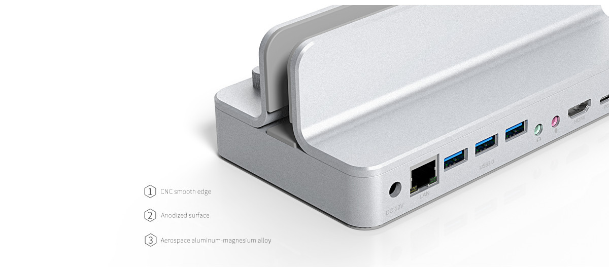 the type-c docking station is with aluminum texture, as good as Mac