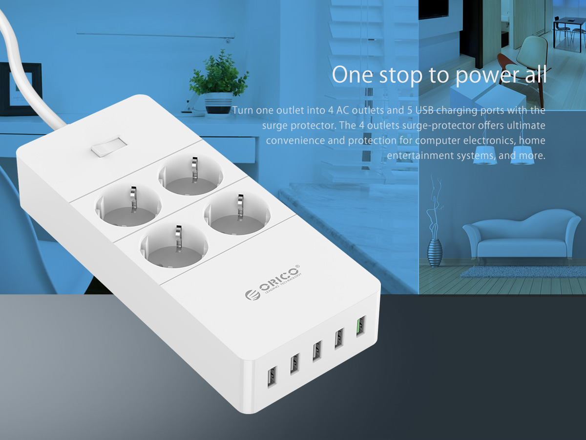 ORICO QC2.0 4 AC Outlets 5 USB Ports Surge Protector