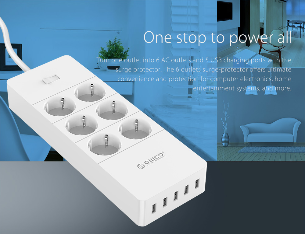 ORICO 6 AC Outlets and 5 USB Charger Surge Protector