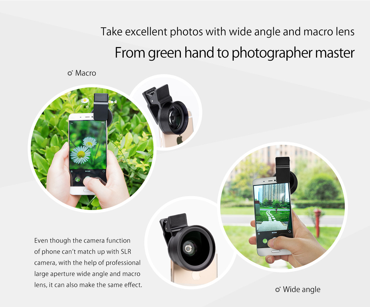 wide angle and macro 2-in-1 lens set