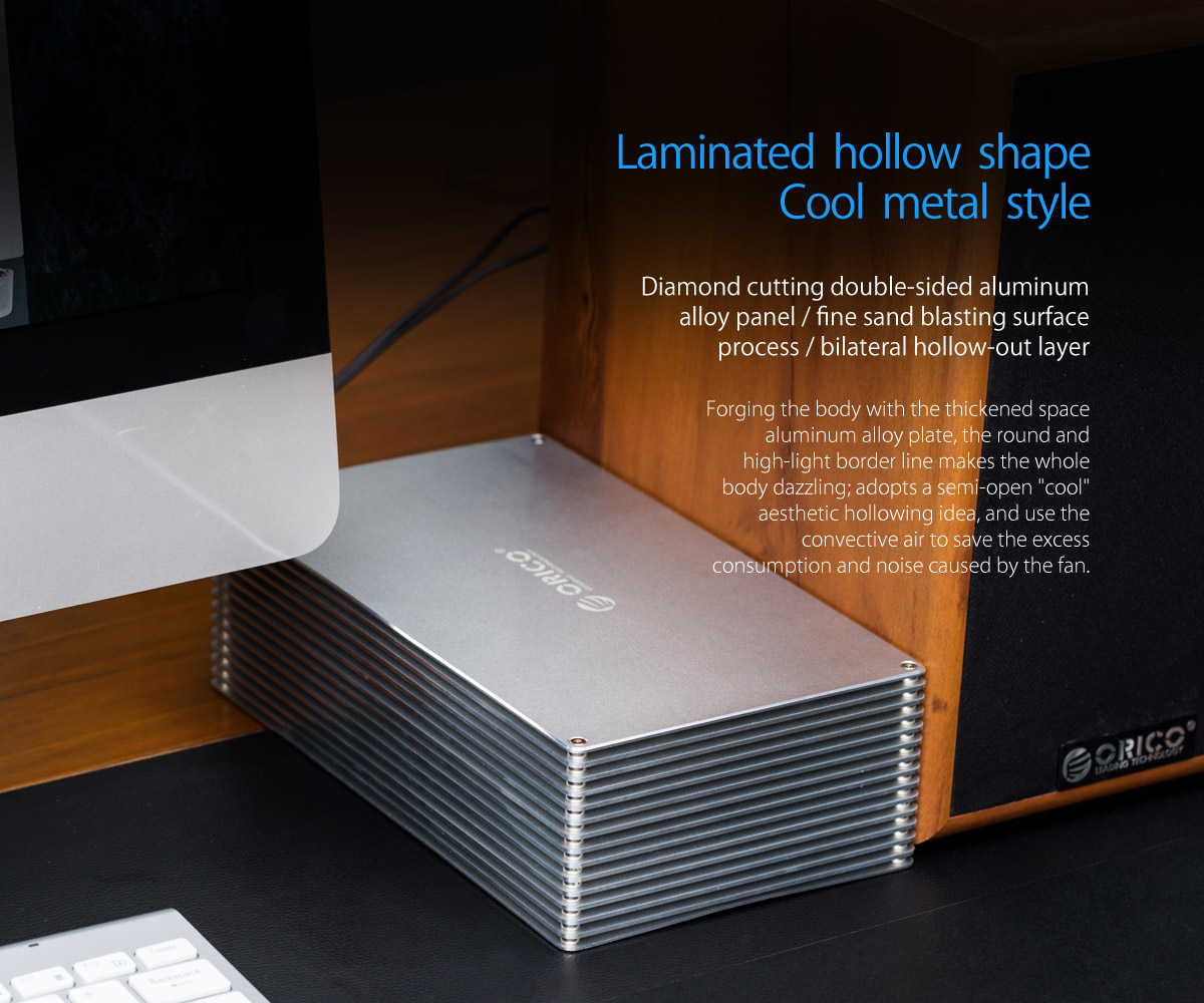 hollow hard drive enclosure,laminated hollow shape, cool metal style