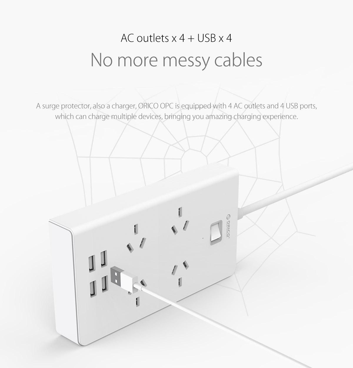 4 AC outlets and 4 USB ports