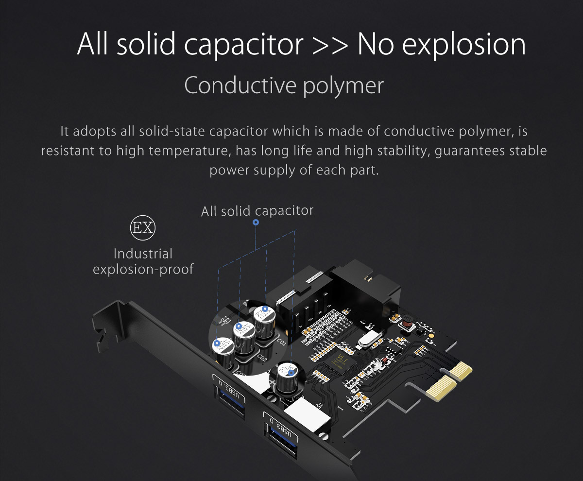 adopts all solid-state capacitor and conductive polymer