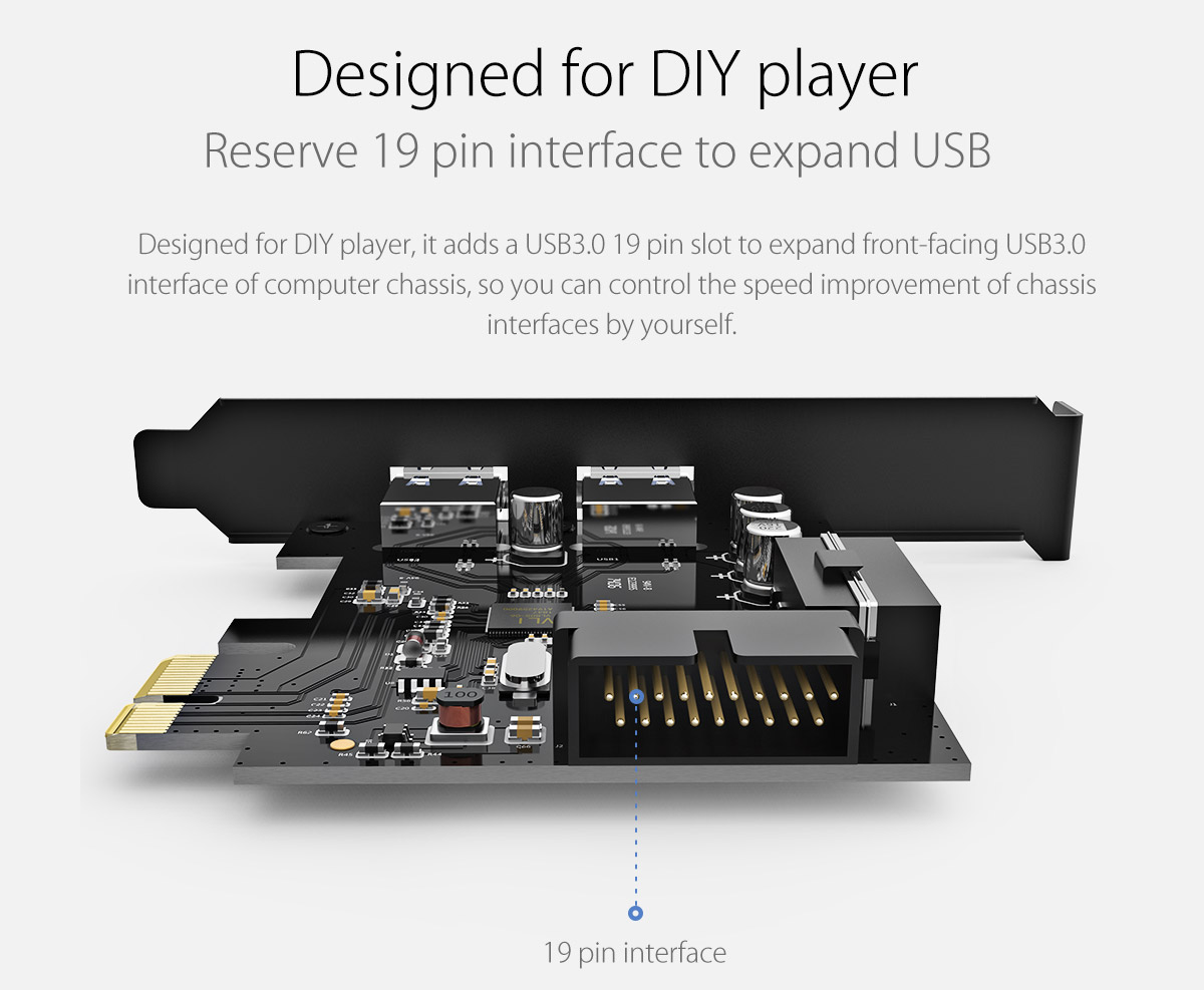 reserve 19 pin interface to expand USB