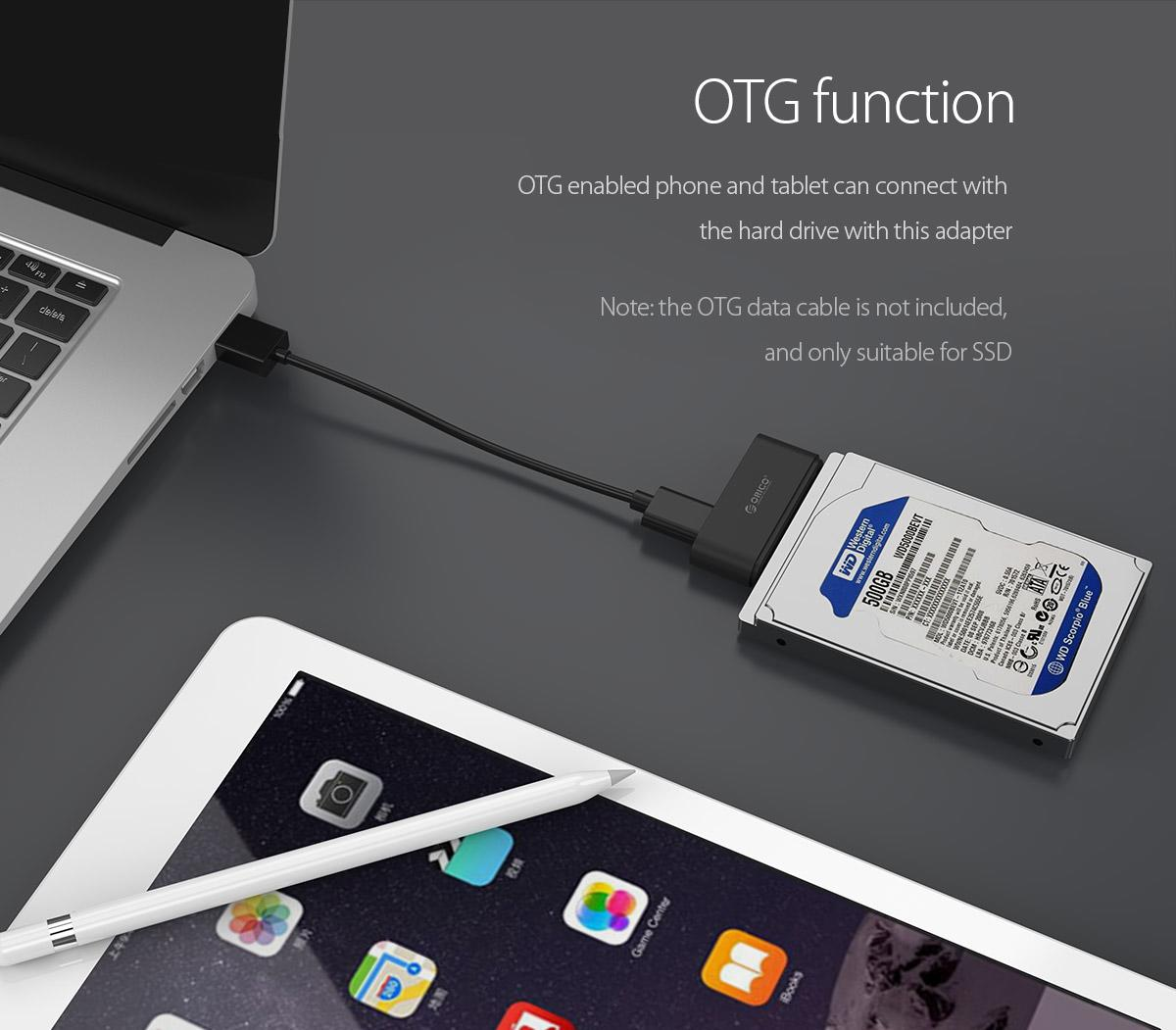 OTG enabled phone and tablet can be connected with the hard drive through this adapter