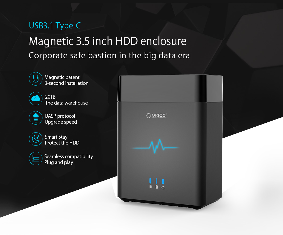 USB3.1 Type-C magnetic-type 3.5 inch hdd enclosure