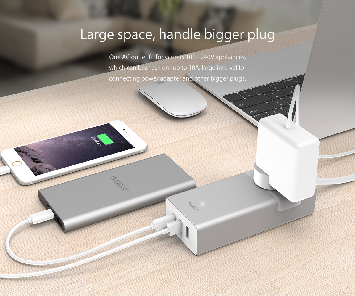 ORICO 1 AC Outlet 2 USB Charging Ports & 1 Type-C Port Power Strip