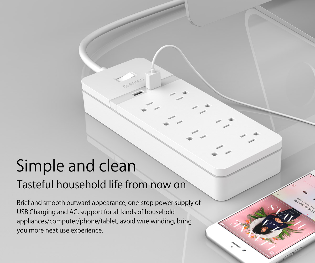 ORICO 8 AC Outlets 2 USB Charging Ports Surge Protector