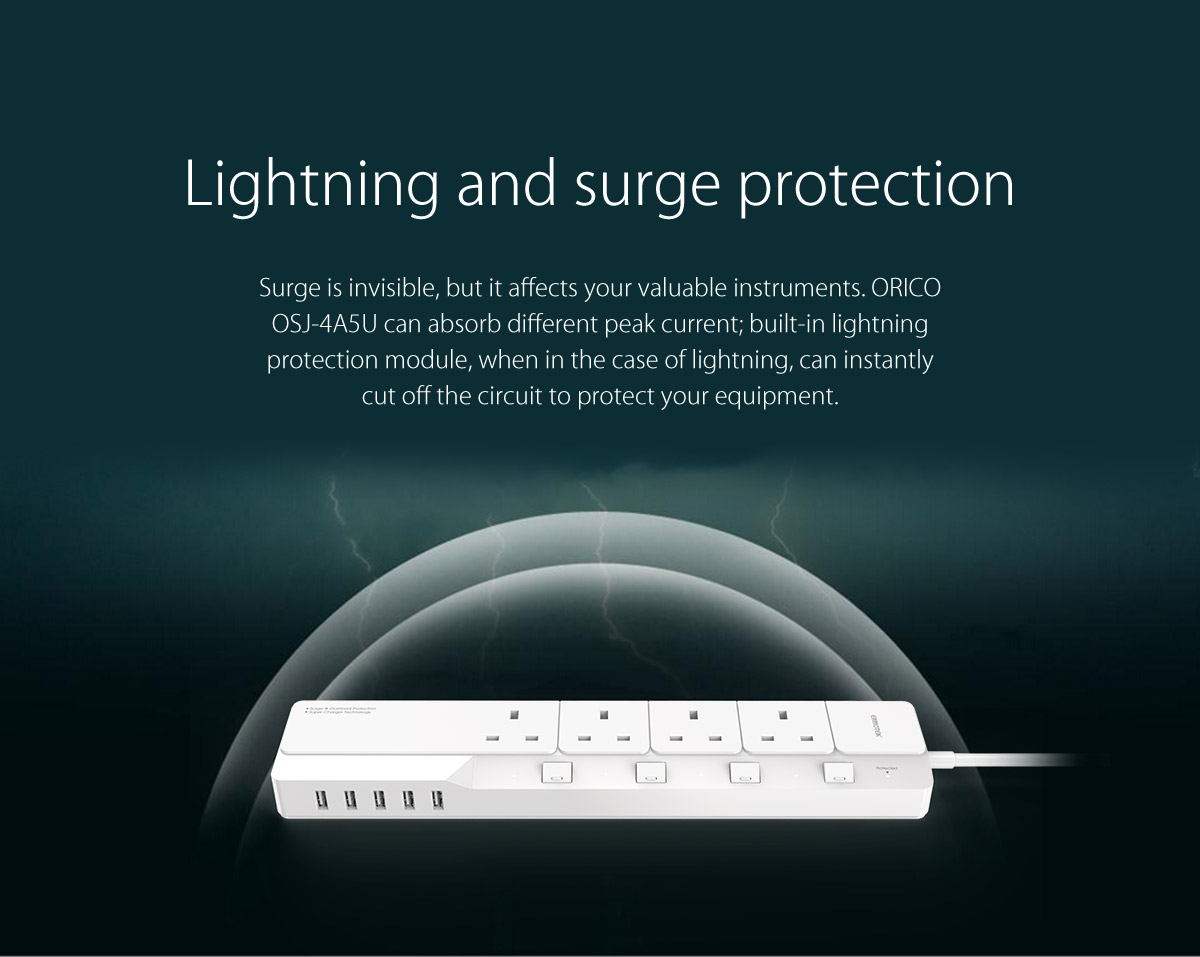 power strip with surge and lightning protection function.
