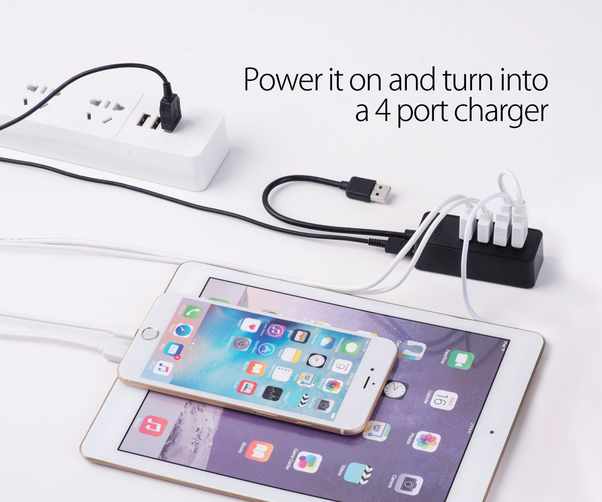 Can turn into a 4-port charger
