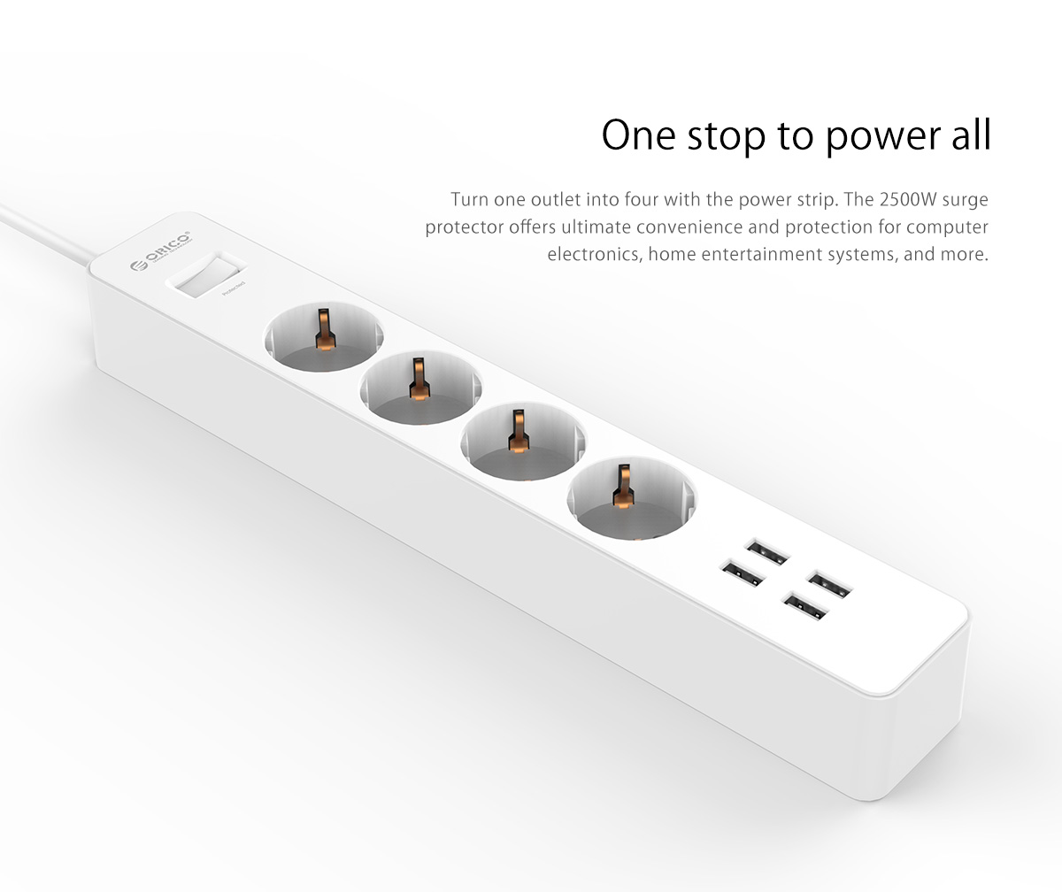 ORICO 4 AC Outlets 4 USB Ports Surge Protector