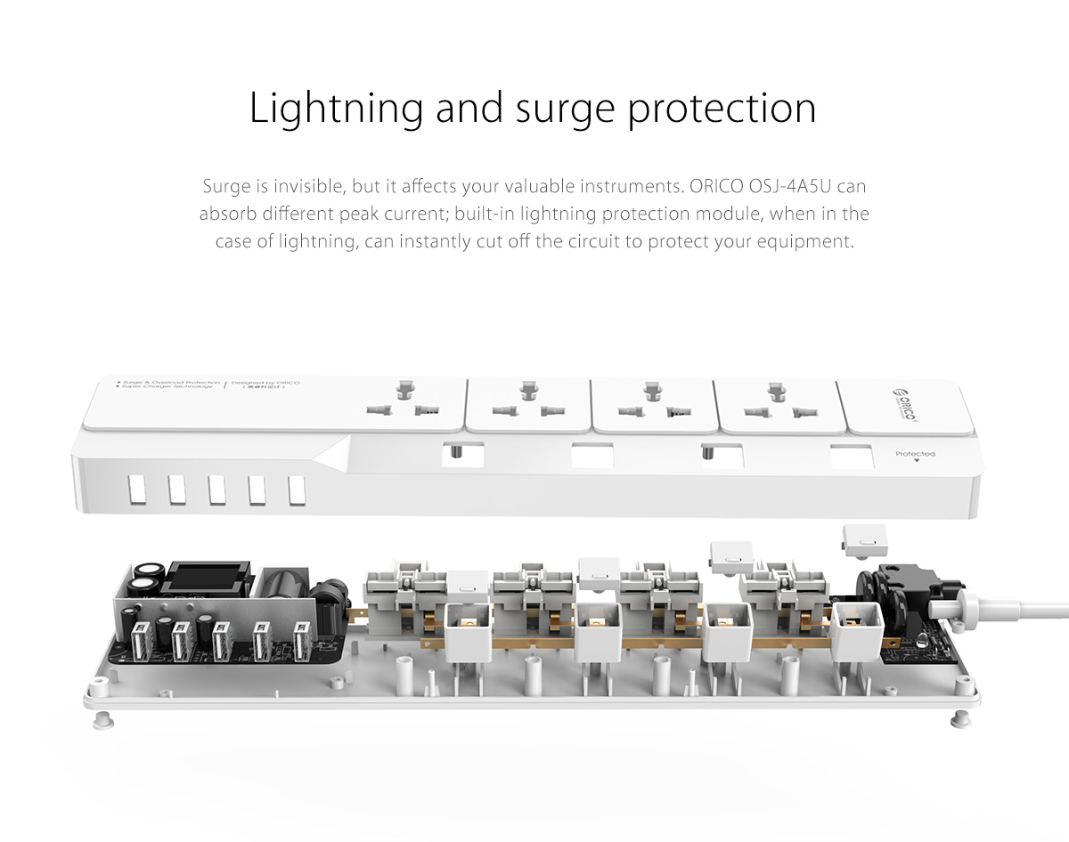 power strip with lightning and surge protection functions