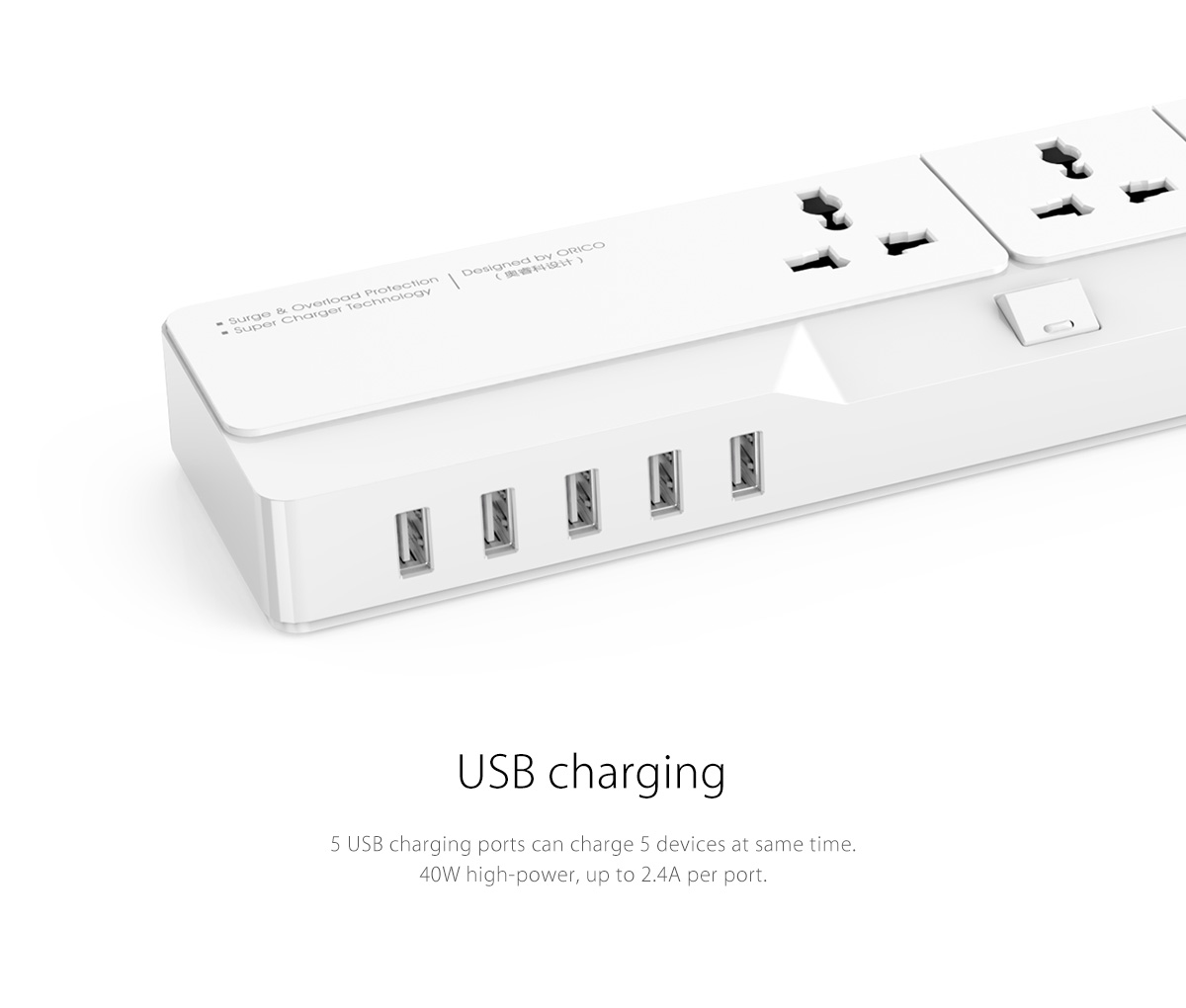 power strip with usb charging ports can charge five devices at the same time.