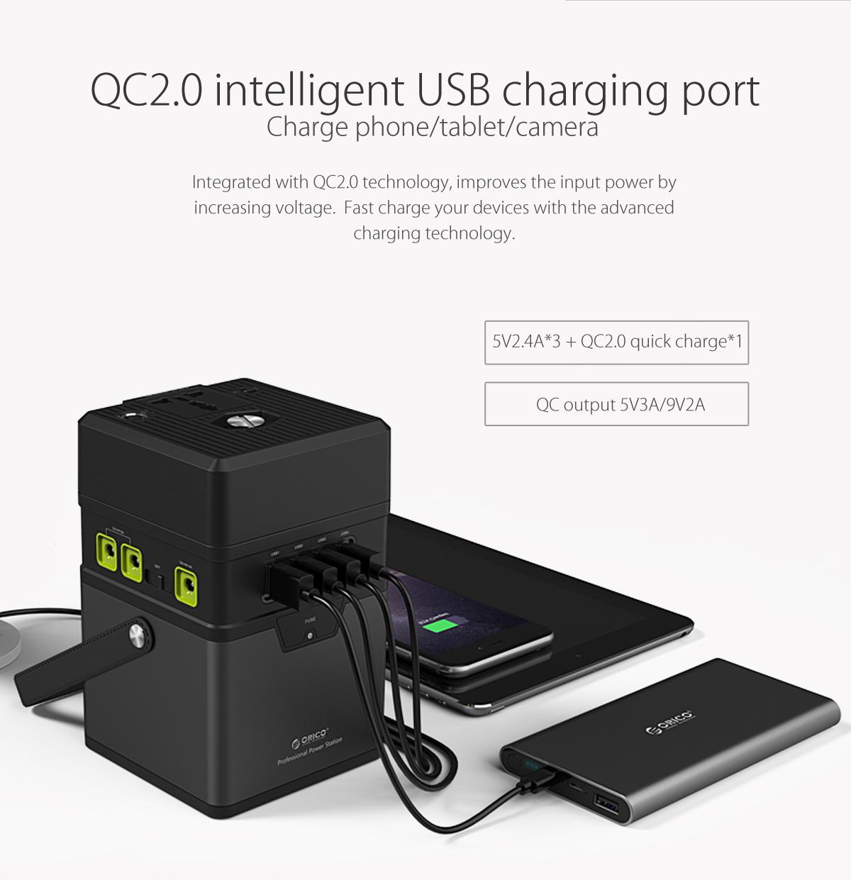QC2.0 intelligent USB charging port