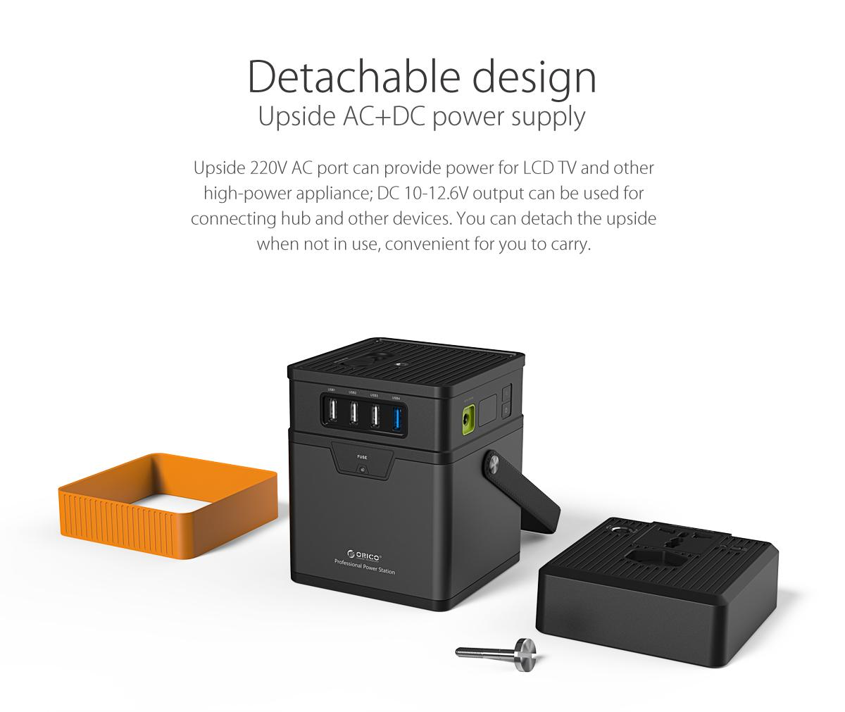 detachable design,upside AC+DC power supply