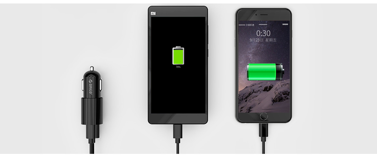 2-port car charger 1xType-C+1xUSB-A, charge two devices simultaneously.